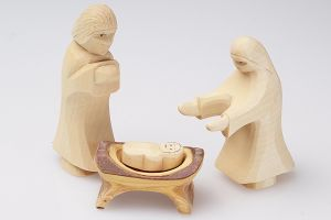 Maria, Josef und Kind in der Krippe